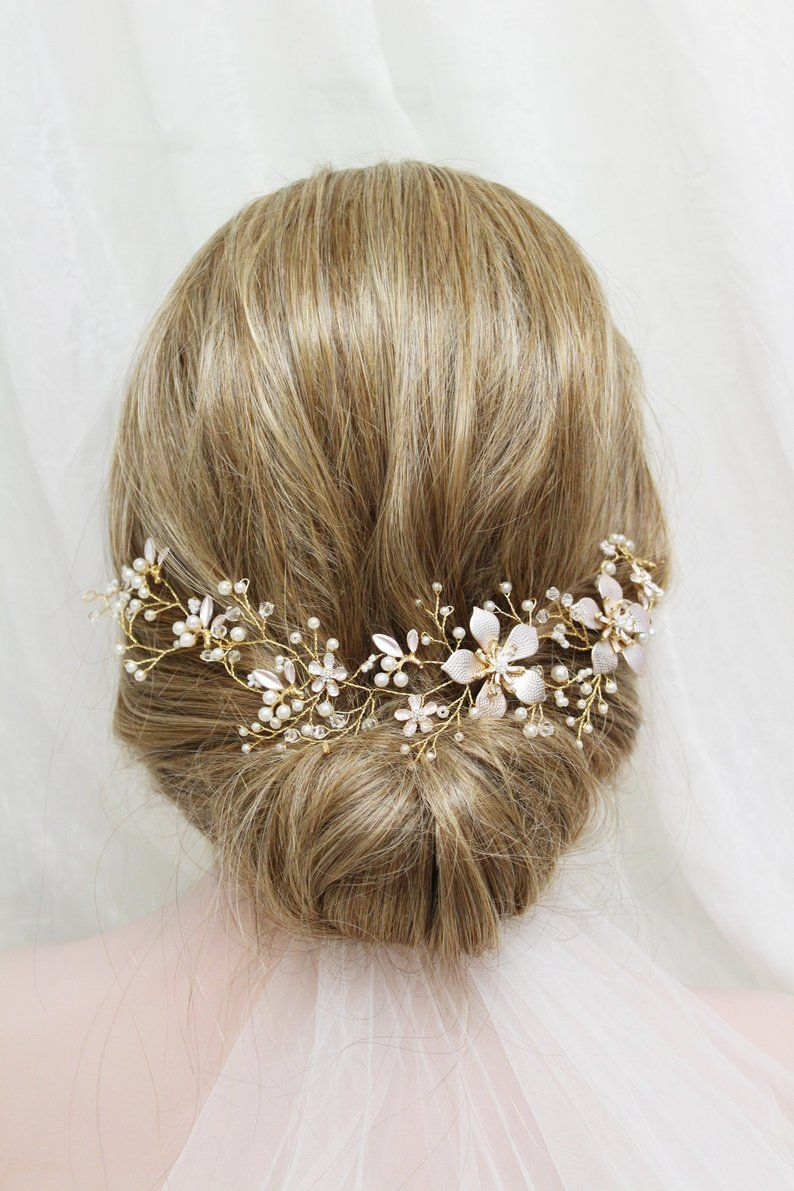 gold wedding hair vine ,back headpiece , crystal pearl hair