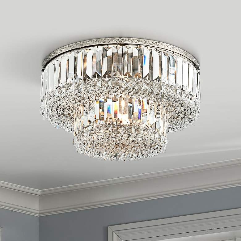 Magnificence Satin Nickel 16 Wide Crystal Ceiling Light 7k587 Lamps Plus In 2020 Crystal Ceiling Light Ceiling Lights Flush Mount Ceiling Lights