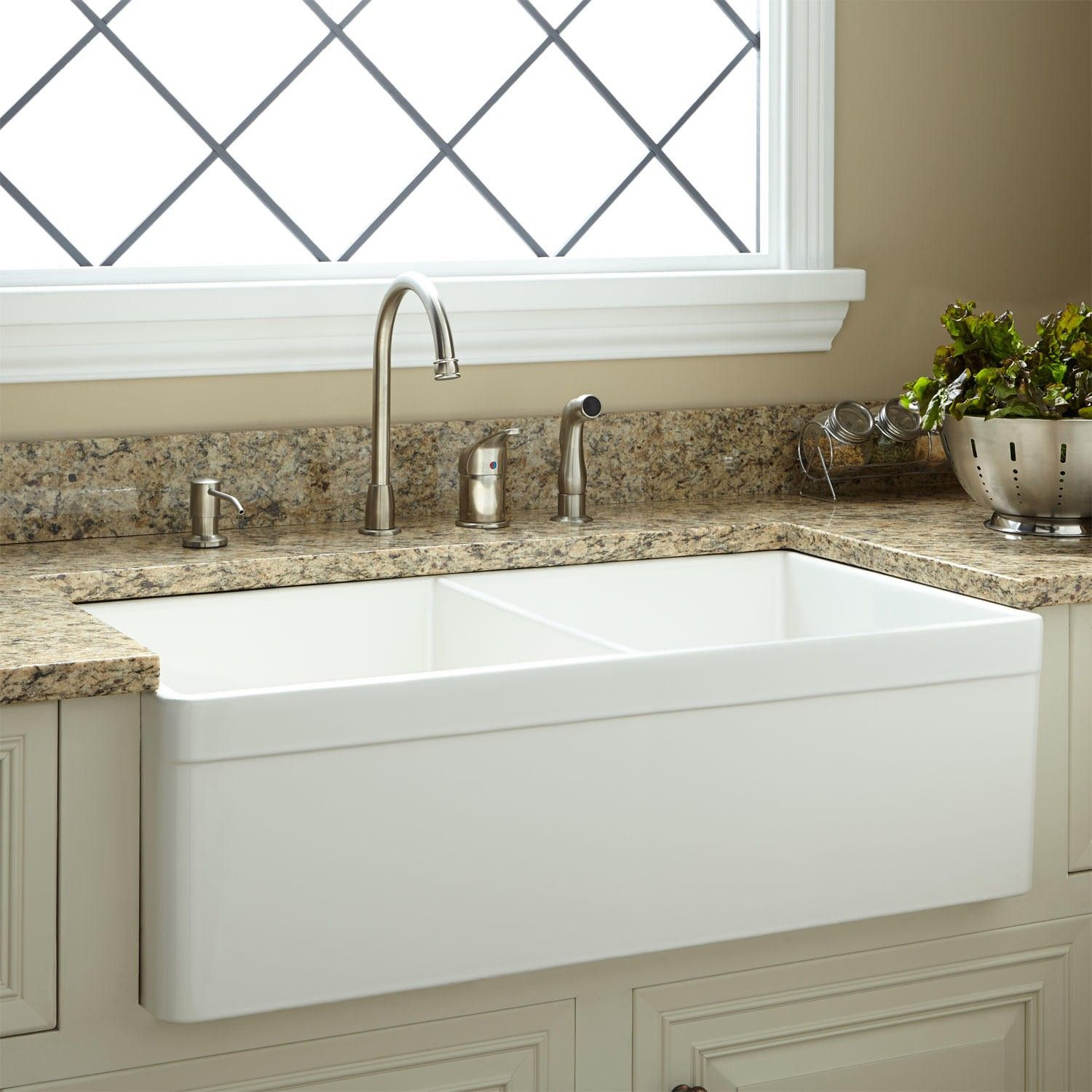 The White Baldwin Double Bowl Farmhouse Fireclay Sink Is The Perfect Fit  For A Busy Kitchen.