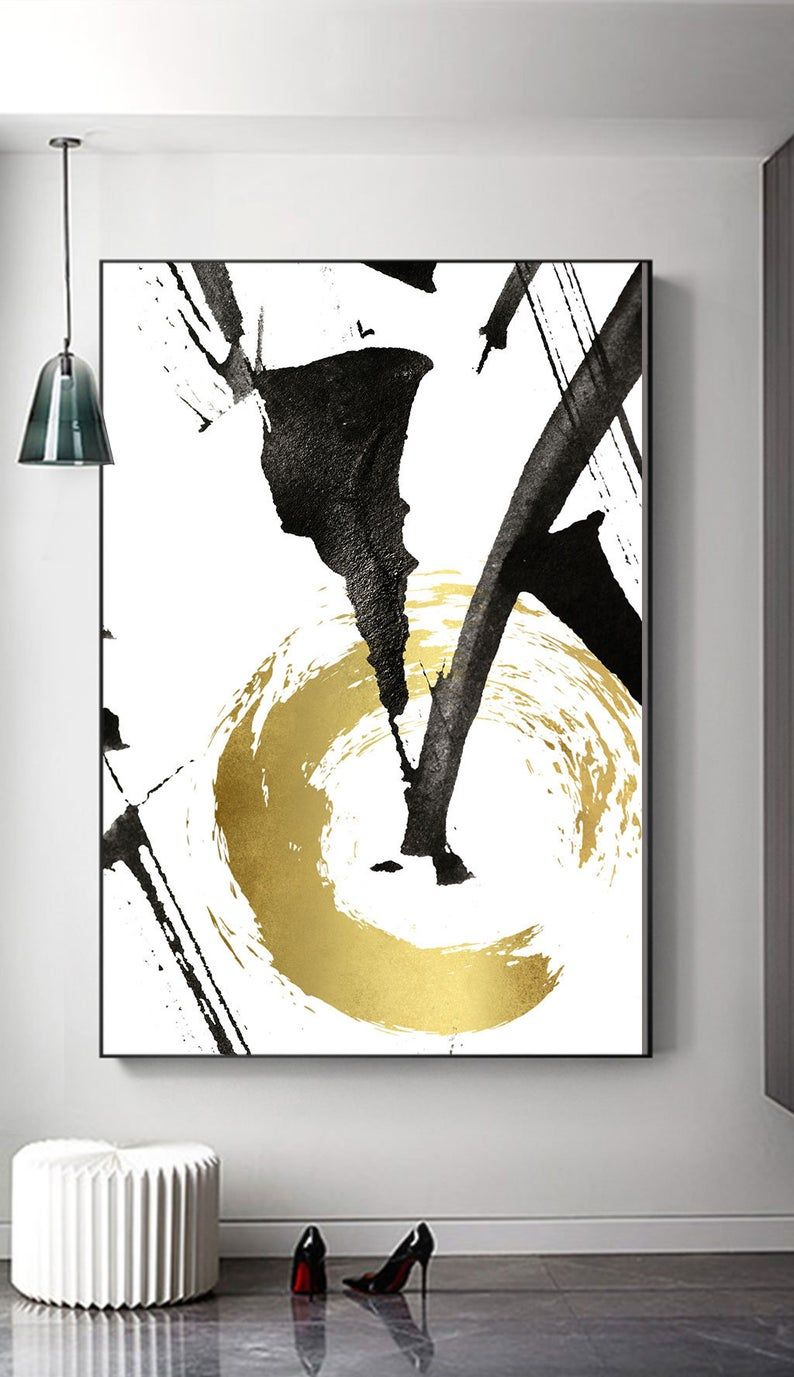 Abstract gold foil print, black and gold, Modern W