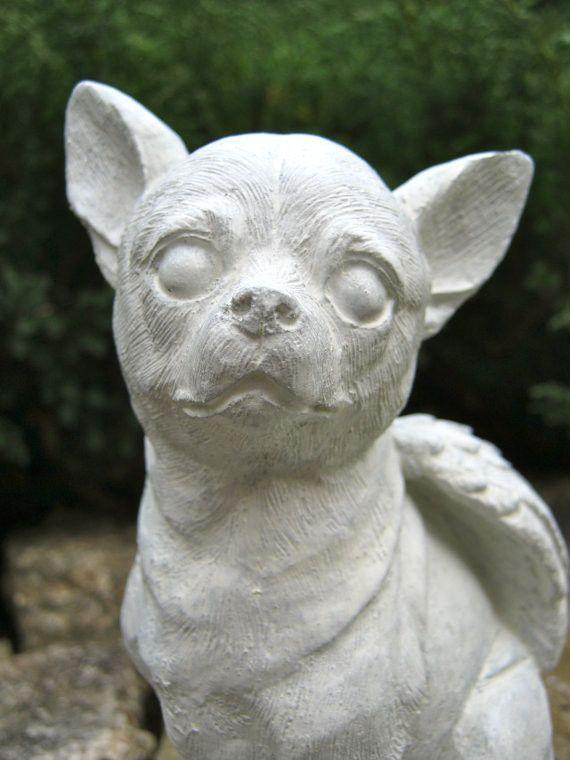 Chihuahua Dog Angel   White Concrete Garden Statue