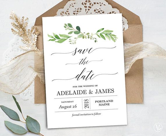 Garden Greenery Save the Date Template, Printable Save the Date Card