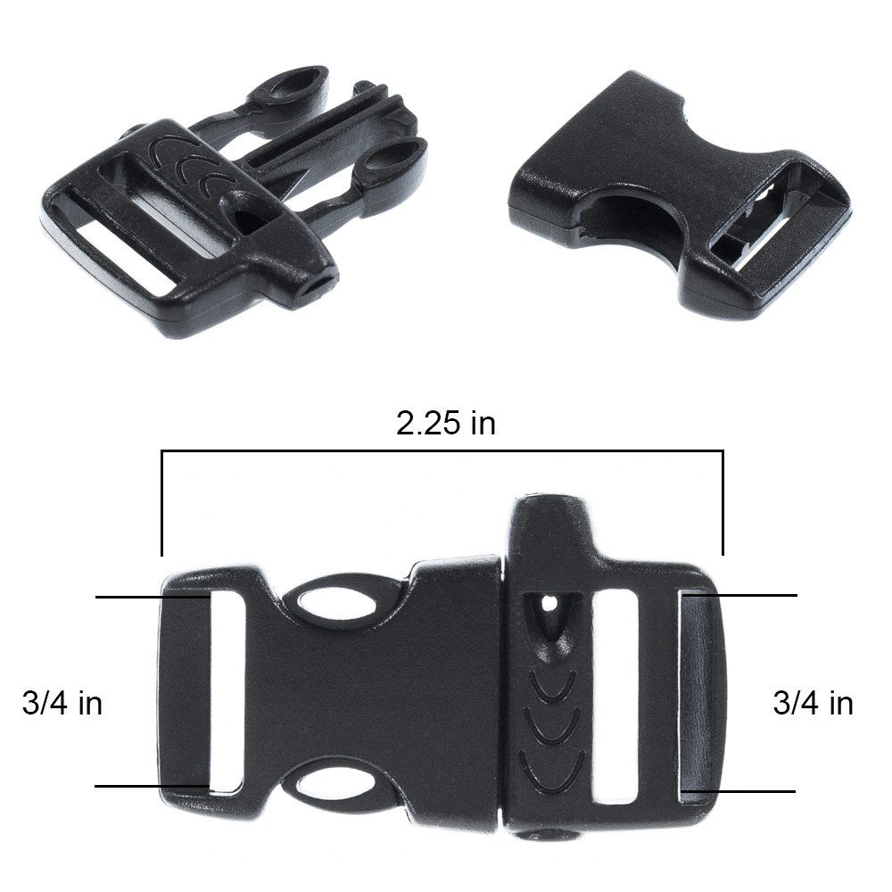 5 Black  one inch paracord buckles with whistle
