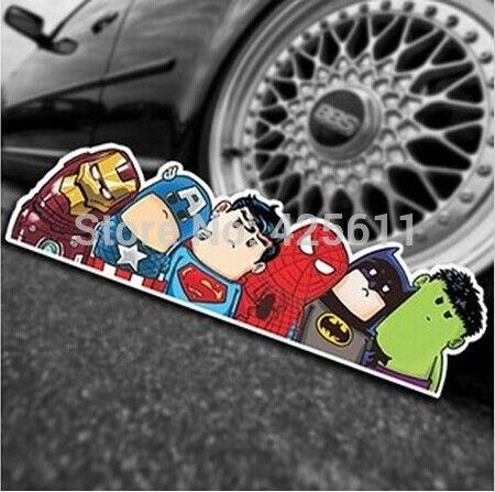 50pcs/lot 2014 New Cute Funny Crooked Neck Avengers Alliance Glance Hellaflush Car Graffiti Stickers Trunk Stickers Art Sticker