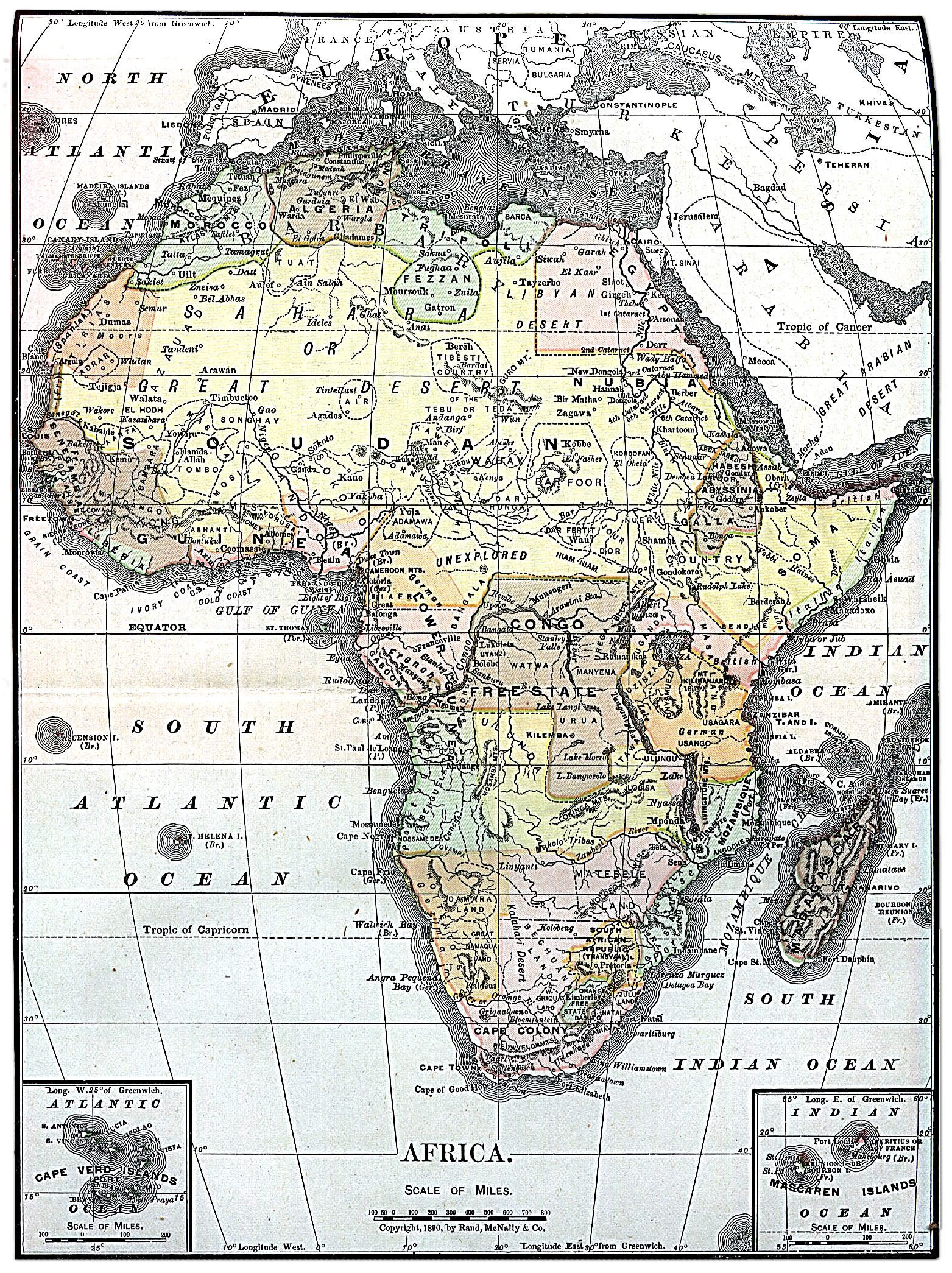 Map Of Africa Nigeria.Africa Map 1890 Showing Biafra To The East Of Nigeria In The