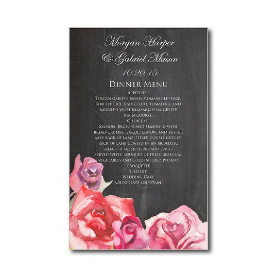 Printable Wedding Menu - Romantic Watercolor Rose - Vintage Wedding - INSTANT DOWNLOAD - Microsoft Word