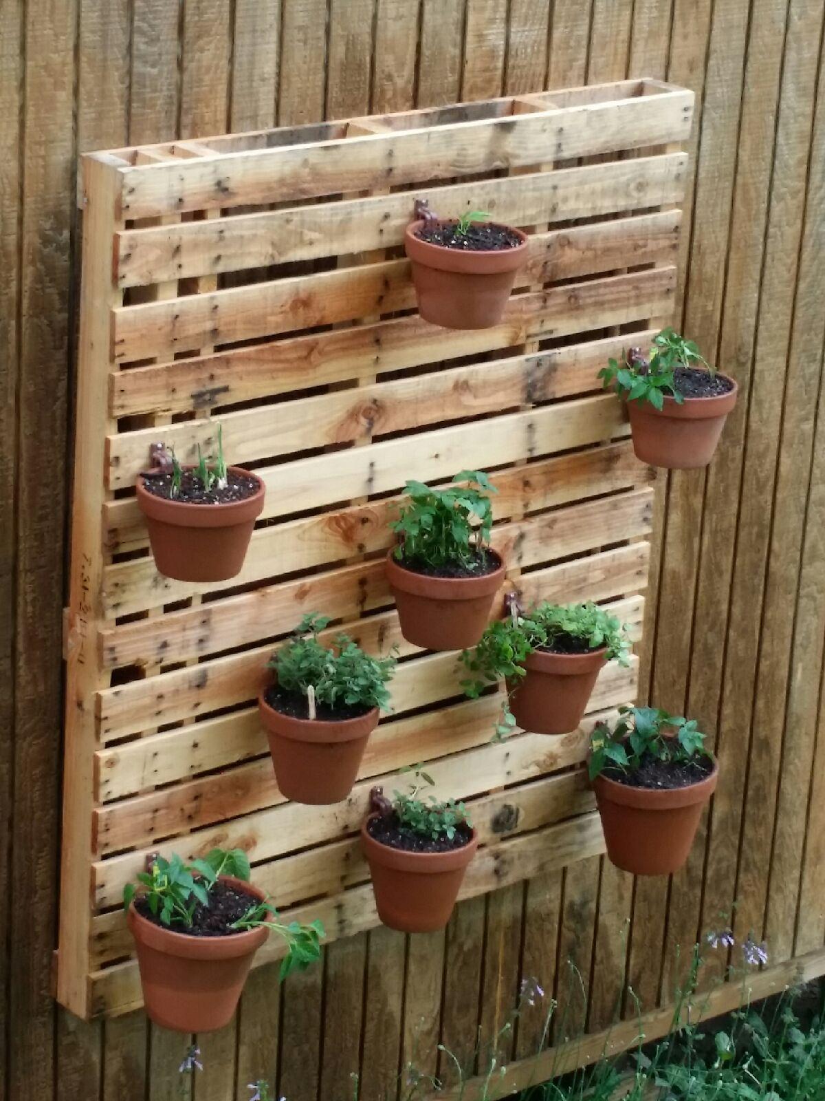 Herb garden on a pallet using hangapot flower pot hangers