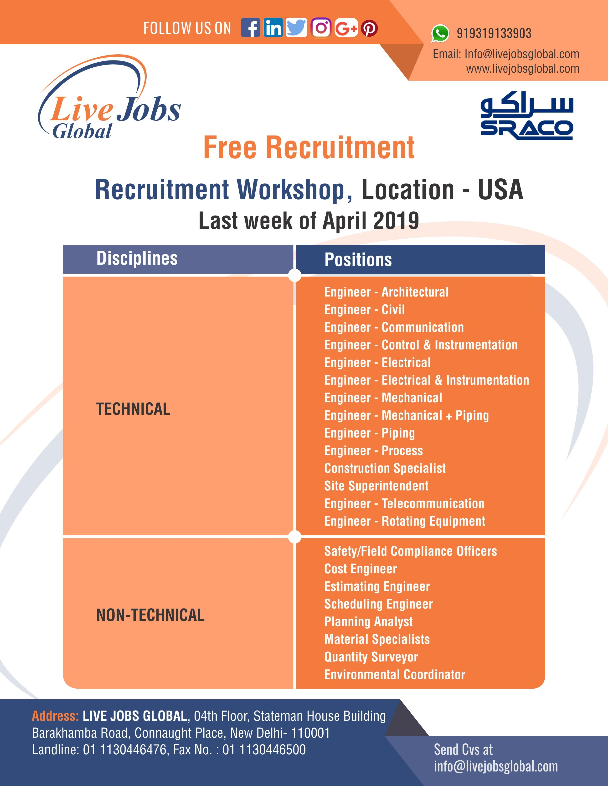 Recruitment Workshop At Usa In Last Week Of April 2019 For The Technical And Non Technical Positions F Recruitment Agencies Recruitment Recruitment Services