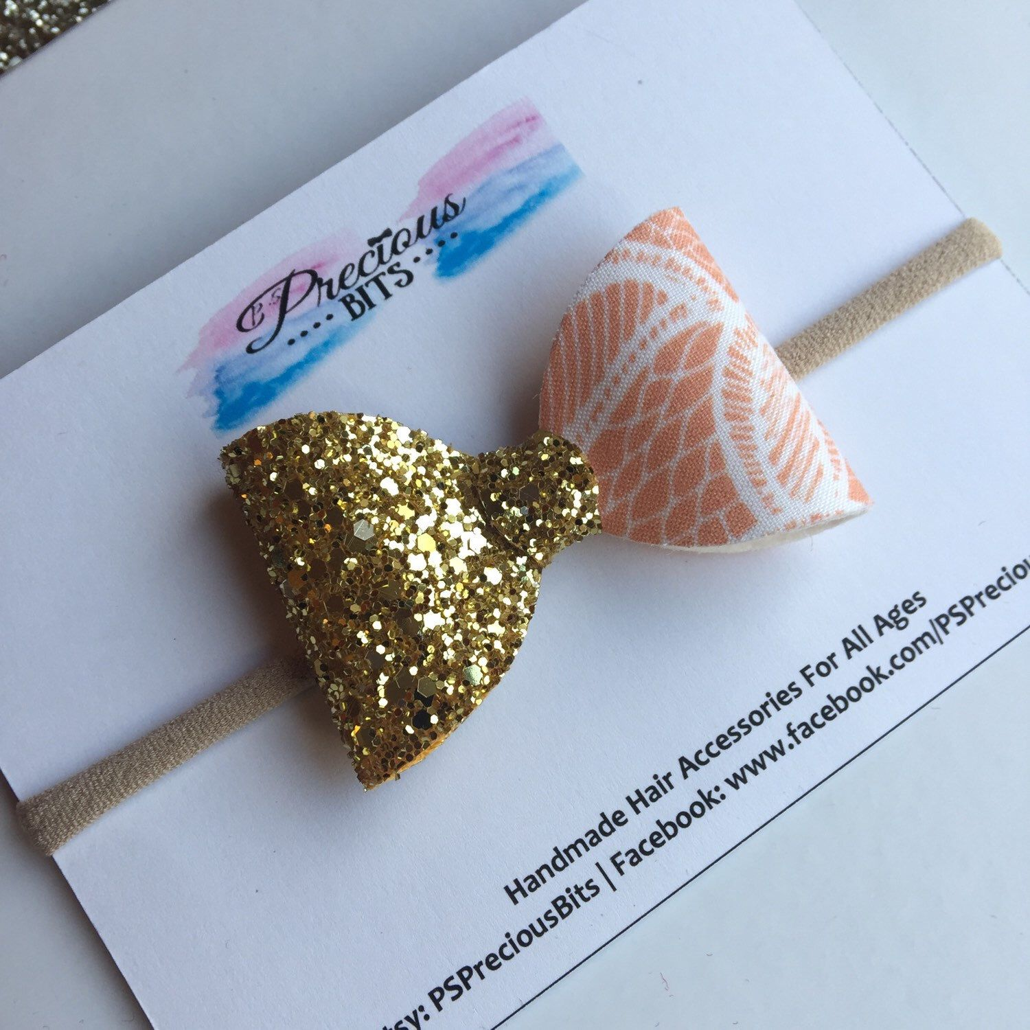Stunning Cora and Gold Glitter Bow