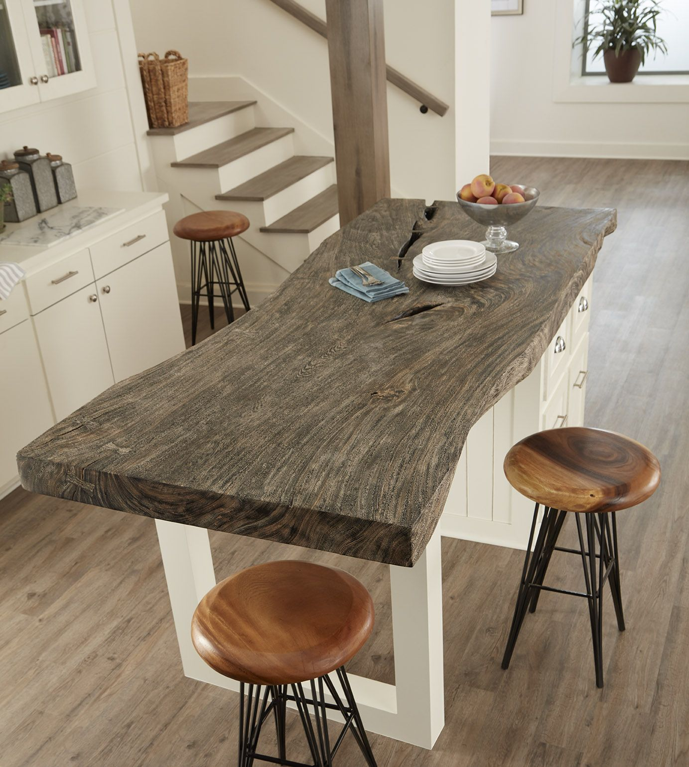 Grey Stone Island Table And Chamcha Wood Barstools From Our