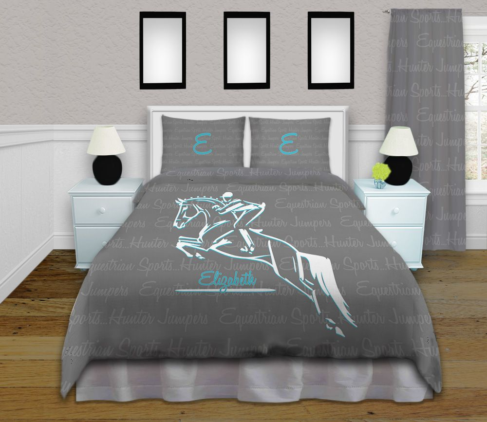 Equestrian Bedding Set in Grey & Teal. Horse Jumping or ...