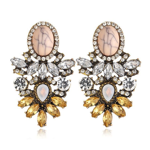 J Crew Stunning Fashion Statement Crystal Drop Rhinestone Earrings Beige Gold Jewelry Watches