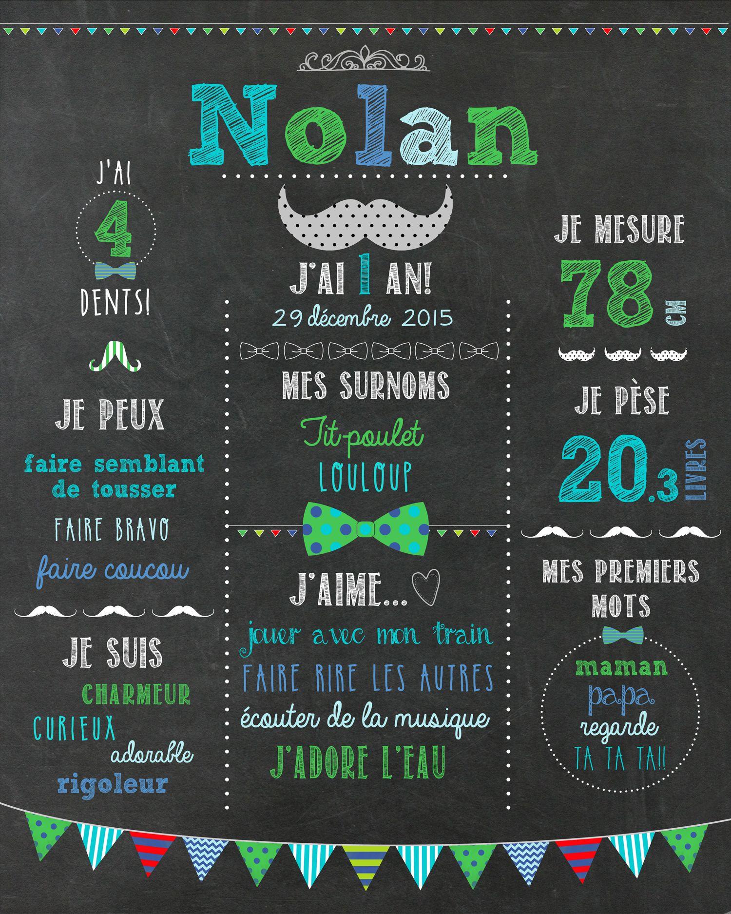 Affiche personnalisée 1er anniversaire #chalkboard #firstbirthday #tableaunoir #pr… | Décoration ...