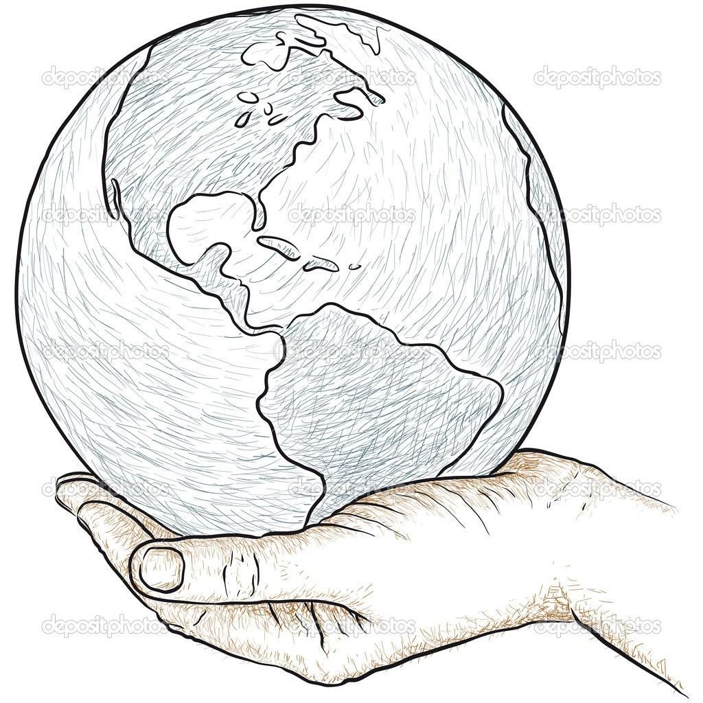 Drawing Hands Holding The World