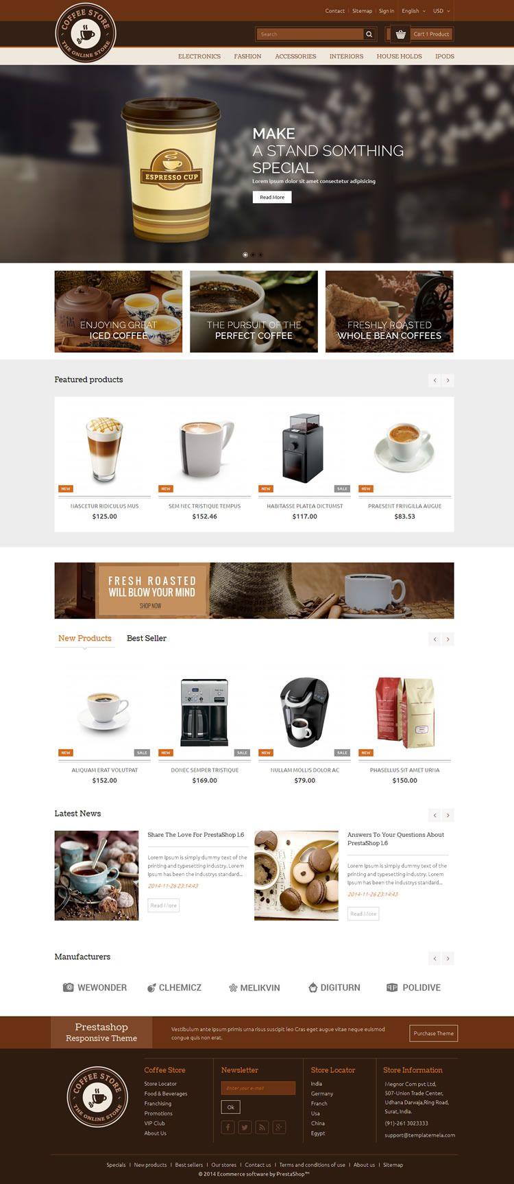Coffee - Prestashop Responsive Theme - Download http://themeforest ...