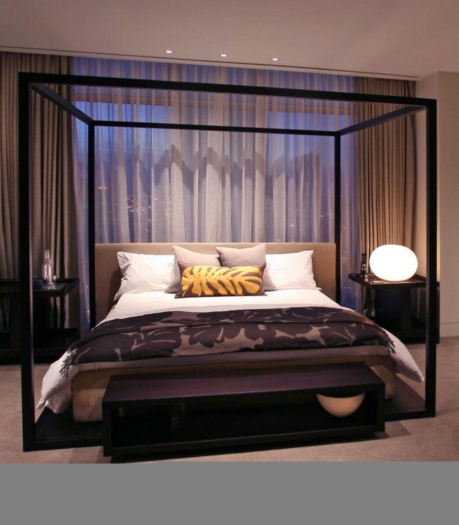 Elegant Modern Interior Canopy Bed Frame Idea Come With Freestanding Square Large Black Elegant Bedroom F Canopy Bedroom Sets Metal Canopy Bed Canopy Bed Frame