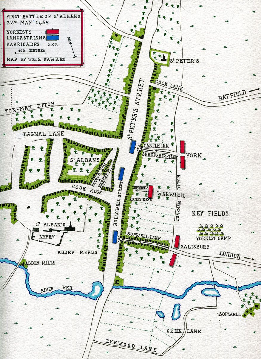 Map of the the First Battle of St Albans, fought on 22nd May 1455 in ...