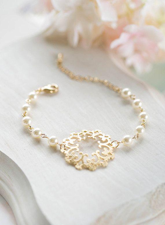 Braut Armband Brautjungfer Armband Gold Filigran Creme