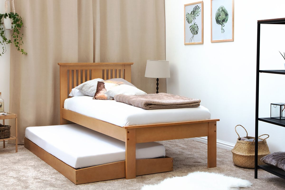 Best Oak Finish Wooden Single Guest Bed Frame Pull Out Guest 400 x 300