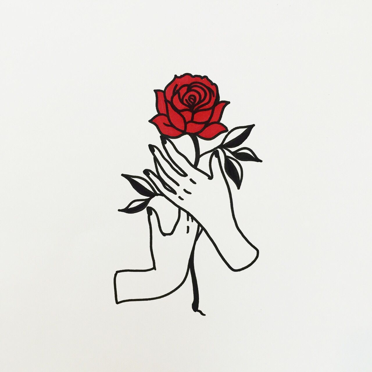 Holding Red Rose T A T T O O S