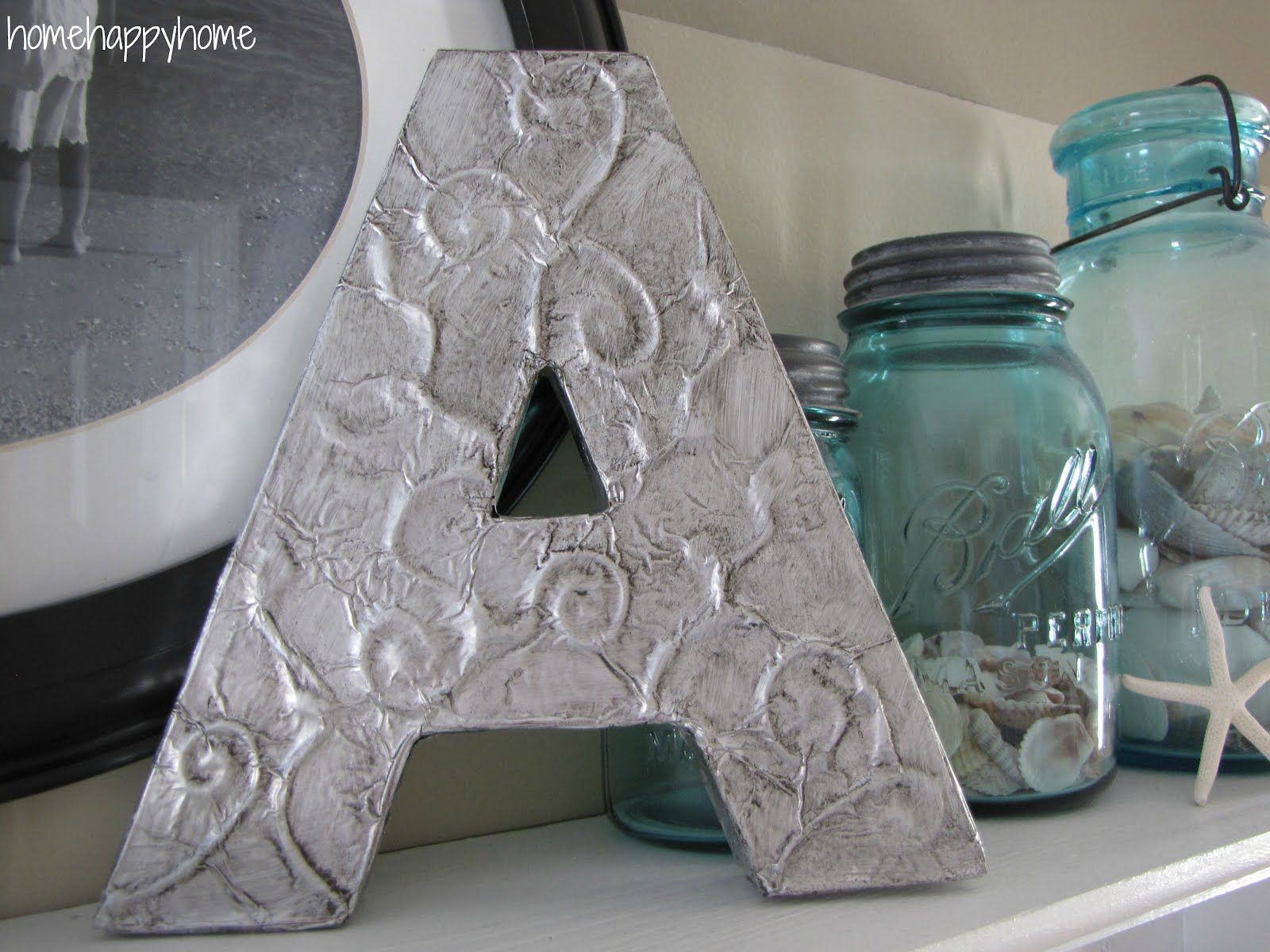 Cute beans. I think I need to do this... home happy home: Foil monogram Pinterest project