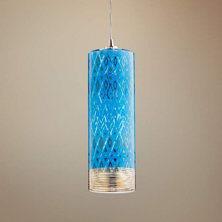 cyan design kaska 4 34w gold and blue glass mini pendant