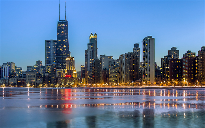 Download Wallpapers Chicago Nightscapes Modern Buildings Usa America Besthqwallpapers Com Chicago Edificios Modernos Noturno