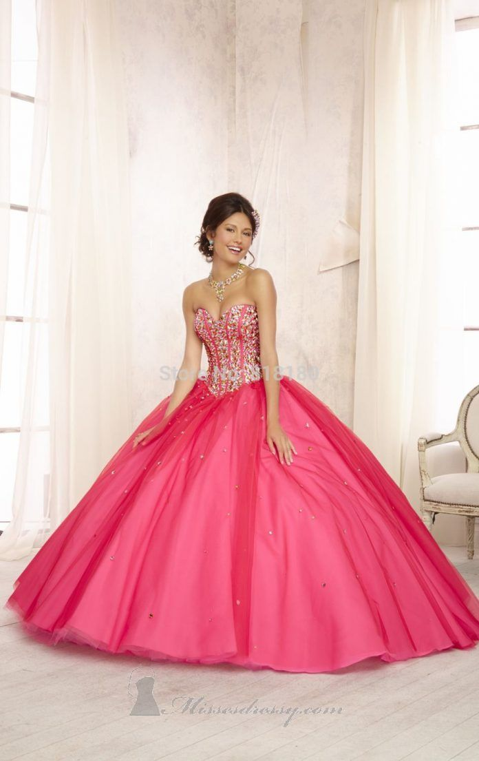Vestidos de 15 anos largos color rosa (3) | Fiesta de neón ...