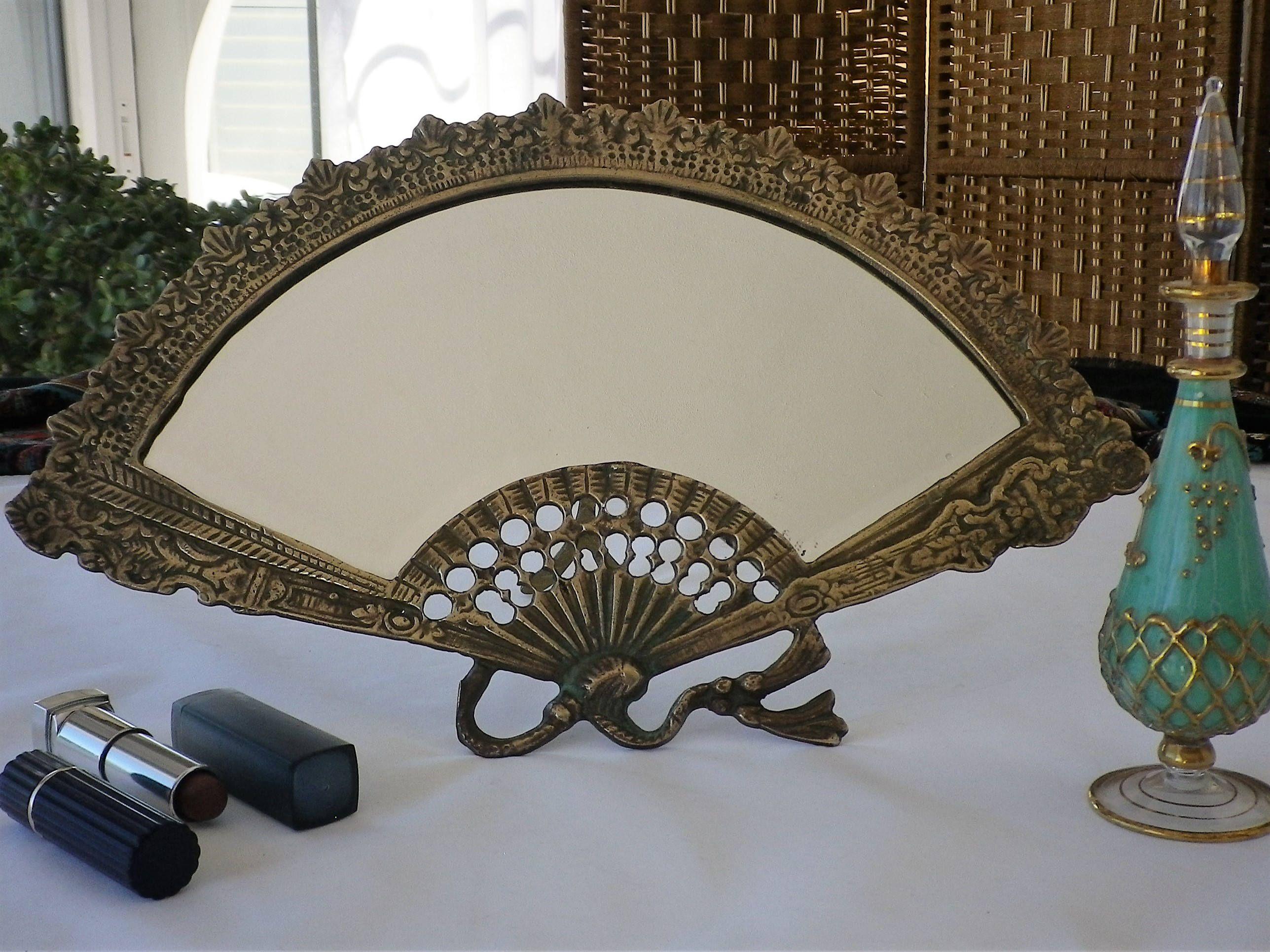 Fan shaped vanity mirror with original bevel edge glass brass art fan shaped vanity mirror with original bevel edge glass brass art nouveau style geotapseo Gallery