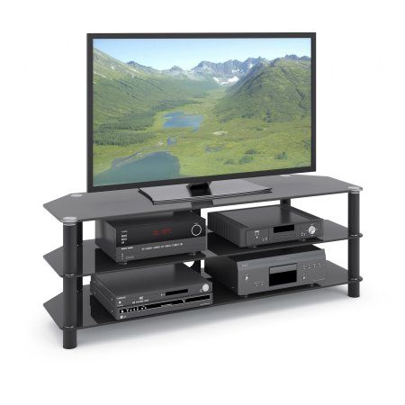Corliving Trinidad Black Glass Corner Tv Stand For Tvs Up To 60 Inch