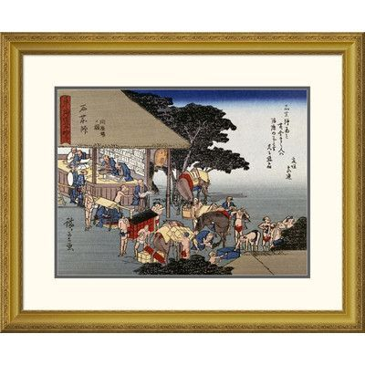 "Global Gallery 'Kusatsu, Coolies Resting at a Teahouse' by Hiroshige Framed Graphic Art Size: 26.39"" H x 32"" W x 1.5"" D"
