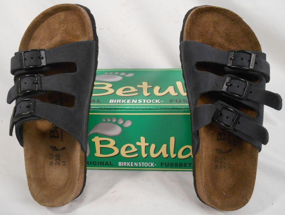 88d9be24f952d BIRKENSTOCK BETULA Sandals Size 5 Womens 3 Strap Leather Navy Blue  Betula   Slides