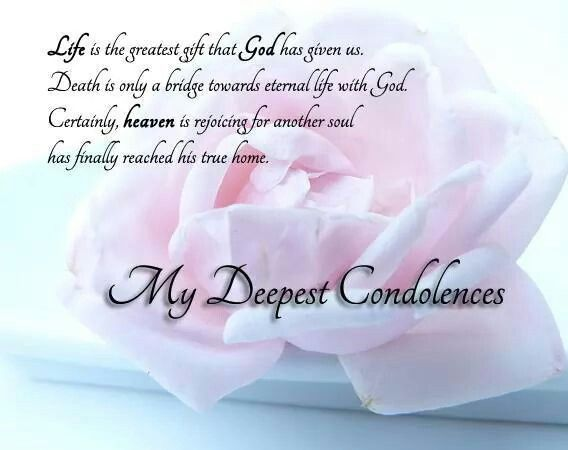 my deepest condolences to