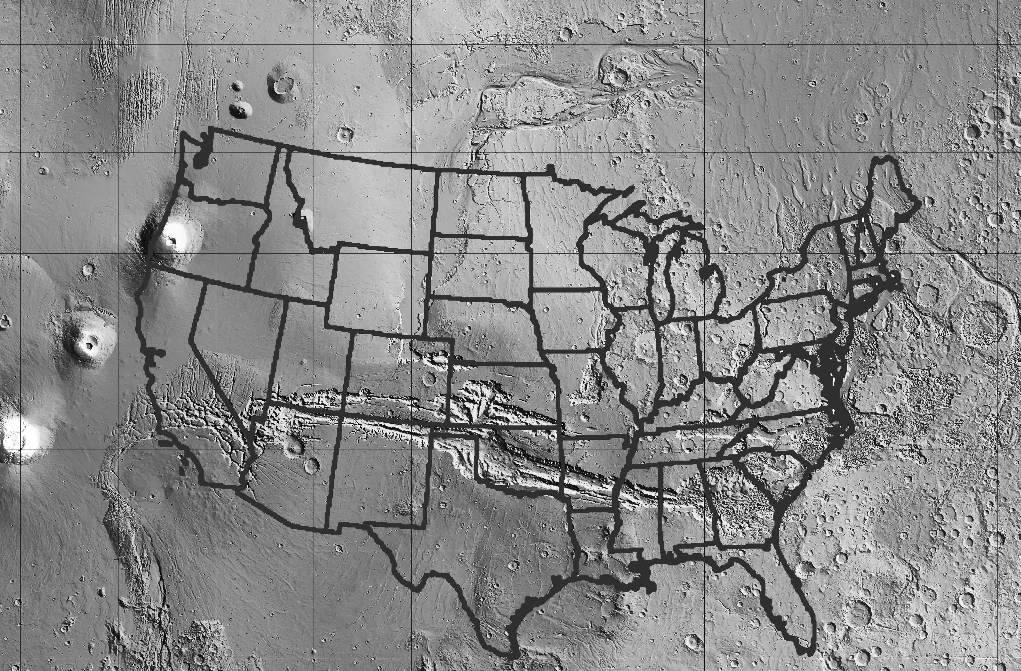 On The Planet Mars To The East Of Tharsisa Huge Volcanic Plateau - Length of usa in miles