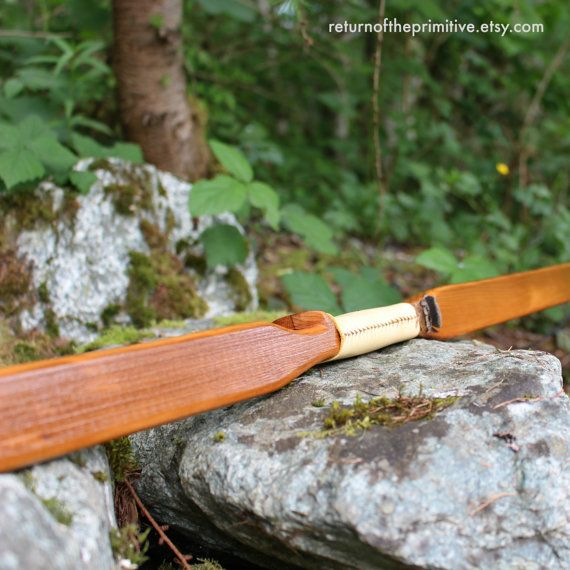 Traditional Wooden Longbow Made With Yew Wood And Black
