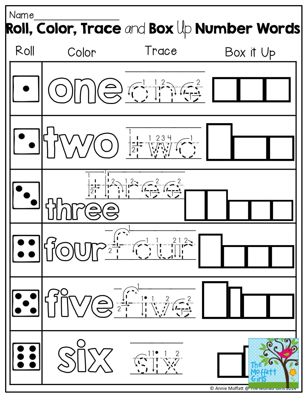 Learning number words roll a die color trace or box up the word kids numbers biocorpaavc