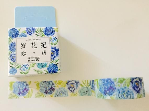Blue Peonies and Roses Washi Tape #bluepeonies