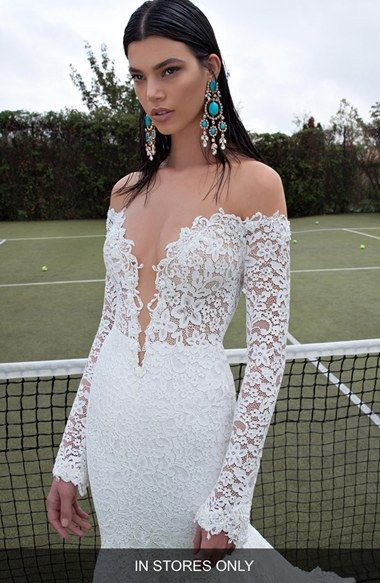 Berta Plunging V Neck Long Sleeve Lace Dress In Stores Only Available At