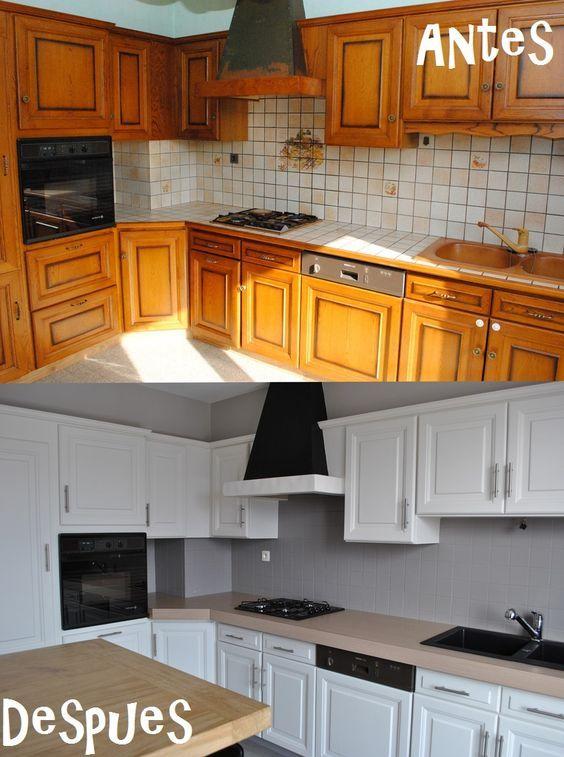 Como Reformar Muebles De Cocina.Transformacion De Una Cocina Solo Con Pintura1 Deko Pintar