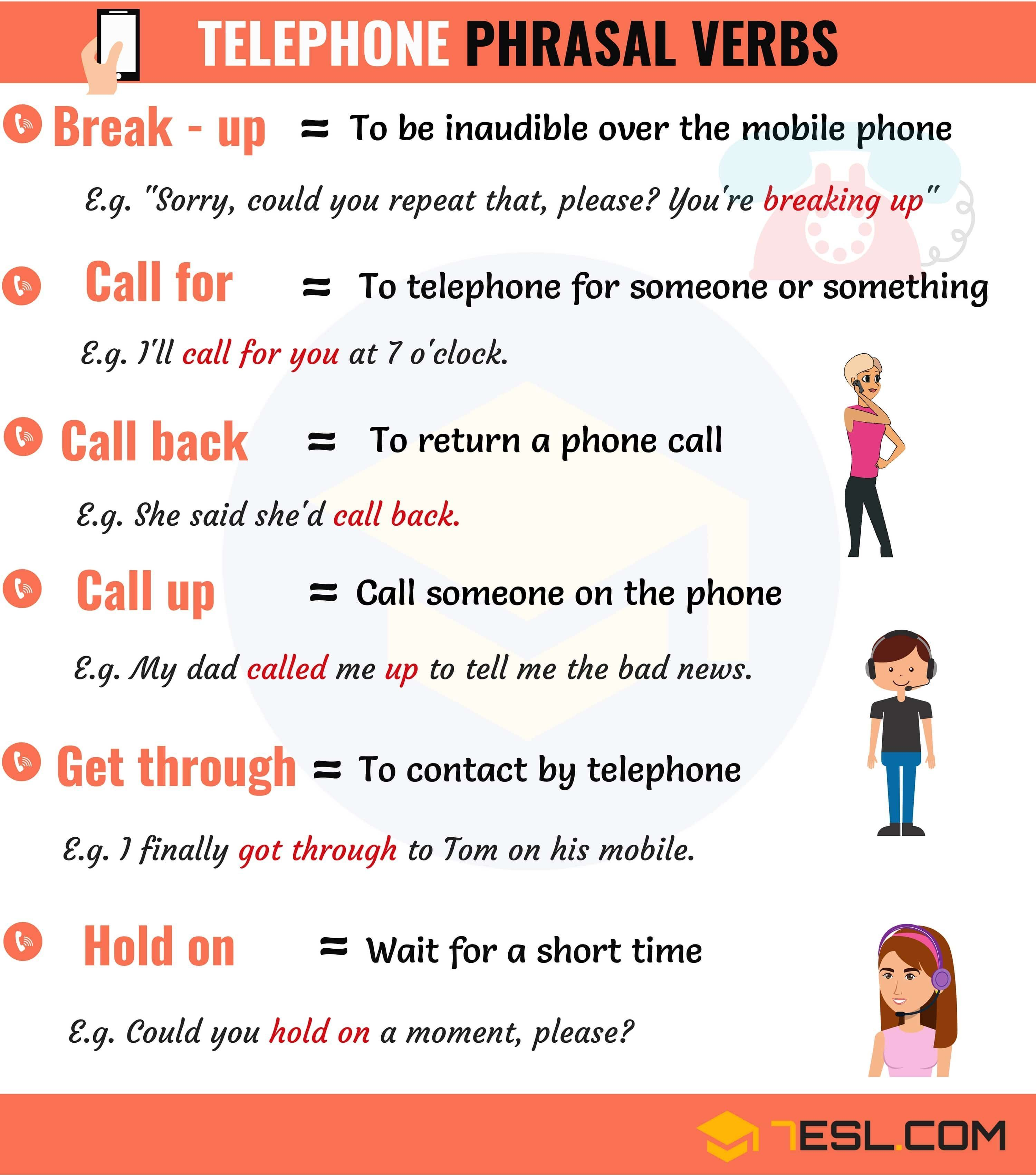 0shares Common Telephone Phrasal Verbs In English With