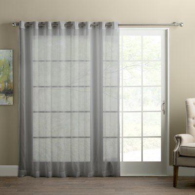 Wayfair Basics Wayfair Basics Sliding Door Patio Solid Semi Sheer Grommet Single Curtain Panel Color Charcoal Panel Curtains Curtains Patio Door Curtains