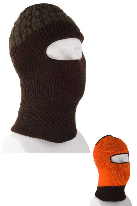 d16a9603b22 Reversible Brown Camo Ski Mask with Blaze Orange Lining - Single Piece -  Made in USA