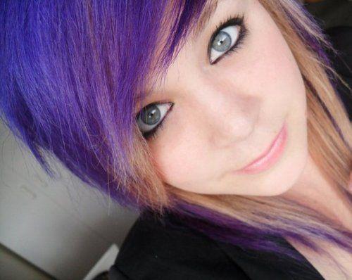 #purple & #blonde #dyed #scene #hair #pretty