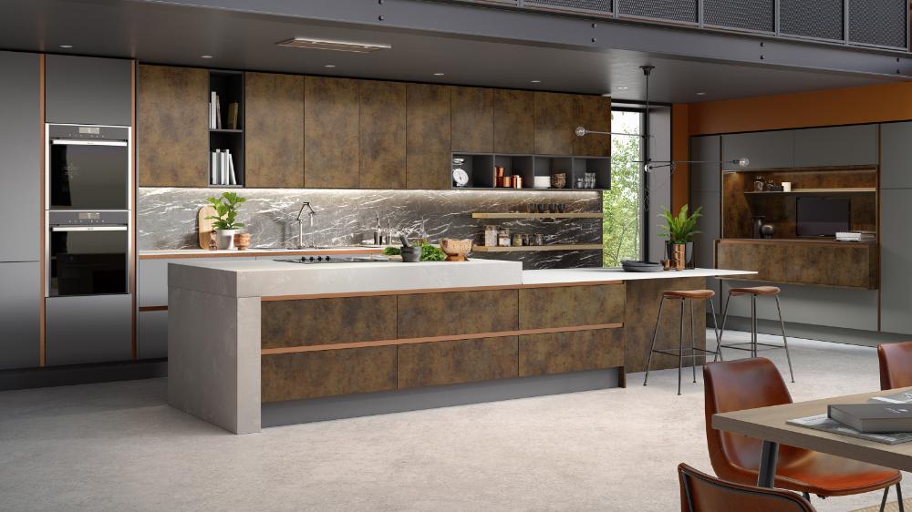 Inset Cube Copper Sheraton Handleless Kitchens Omega