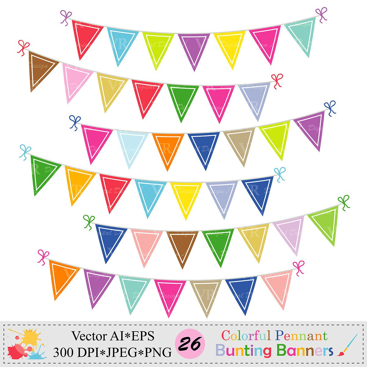 Colorful Pennant Bunting Banners Clip Art Birthday Party Etsy Banner Clip Art Bunting Banner Clip Art