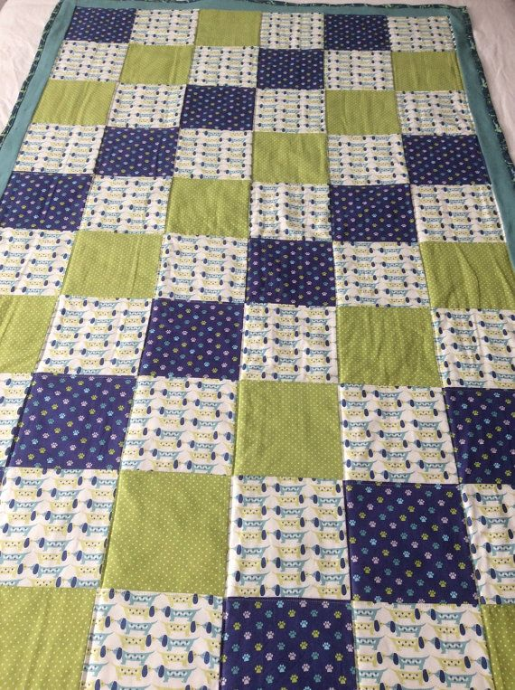 This Is A Dachshunddog Themed Quiltthrow Made With All Cotton