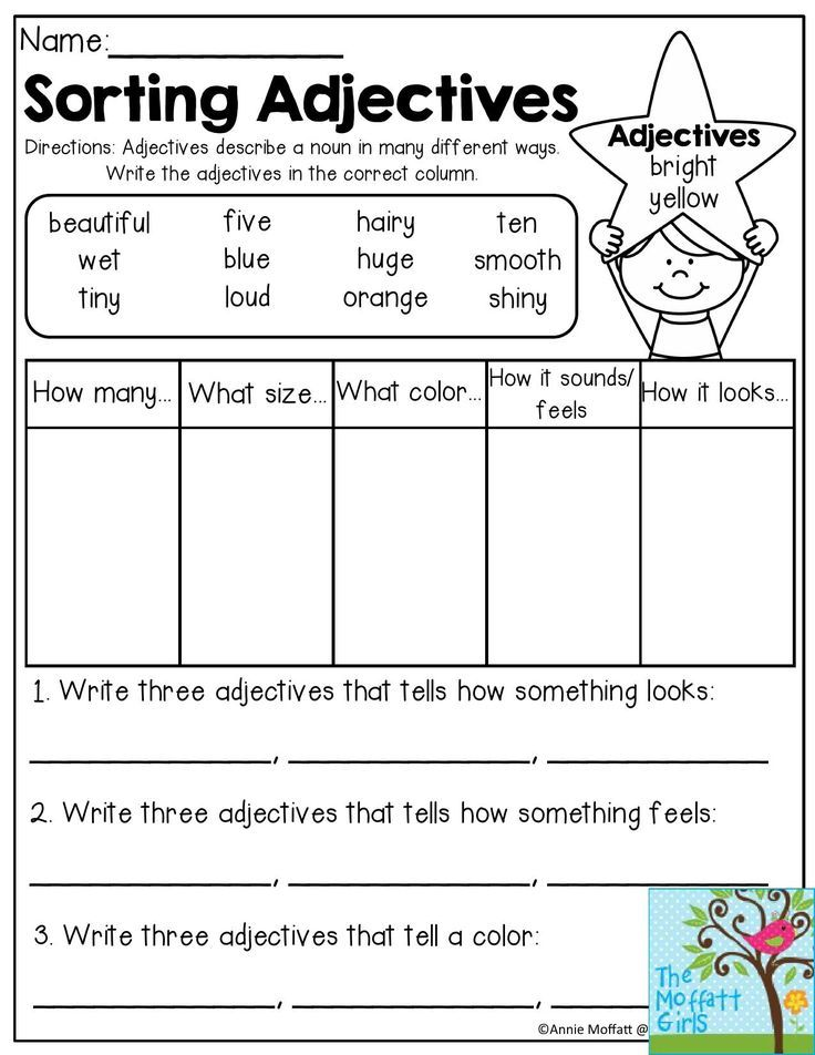 Printable Worksheets grammar worksheets for second grade : Sorting Adjectives- Adjectives describe a noun in many different ...