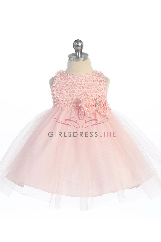 Blush pink girl dress  Blush Pink Ribbon Trimed Texture Top Tulle Overlaid Flower Girl