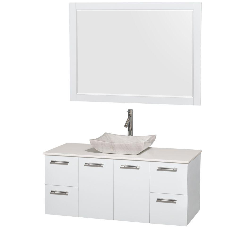 Wyndham Collection Amare 48 in. Vanity in Glossy White with Solid ...