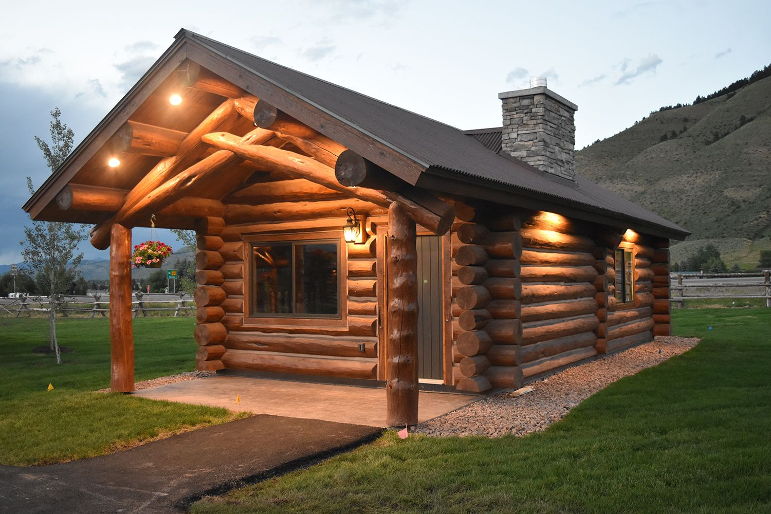 New Cabins in Afton, Wyoming Come stay in style in one of our cozy cabins Pictured is our Small Cabin, with a King bed.  307-885-8800
